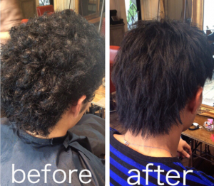 Before and After of Japanese hair straightening
